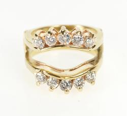 14K Yellow Gold 1.00 Ctw Diamond Curved Insert Wedding Band Ring