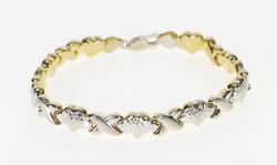 14K White Gold Two Tone XO Heart Link Textured Tennis Bracelet