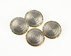 14K Yellow Gold Two Tone Art Deco Pinstripe Round Ornate Cuff Links
