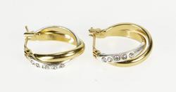 14K White Gold Two Tone Rhinestone Inset Fashion Hoop Earrings