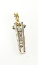14K White Gold Graduated Diamond Two Tone Bar Design Fashion Pendant