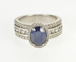 14K White Gold 3.10 Ctw Oval Sapphire Diamond Engagement Ring