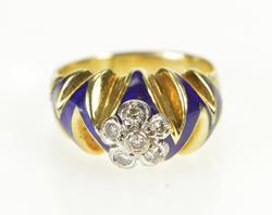 18K Yellow Gold 0.18 Ctw Floral Diamond Zig Zag Blue Enamel Ring