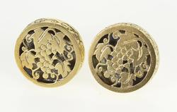 14K Yellow Gold Ornate Round Floral Grape Bunch Design Cuff Links