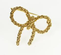 18K Yellow Gold Retro Chain Design Bow Ribbon Fashion Pin/Brooch