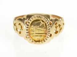 14K Yellow Gold Oval Parthenon Landmark Ornate Scroll Design Ring