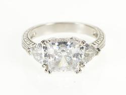 14K White Gold Three Stone Princess Ornate Travel Engagement Ring
