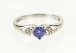 10K White Gold Heart Cut Syn. Sapphire CZ Accent Promise Ring