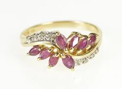 10K Yellow Gold Marquise Ruby Diamond Accent Bypass Ring