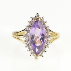 10K Yellow Gold Marquise Amethyst Diamond Halo Fashion Ring