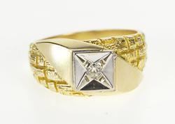 10K Yellow Gold Men's Diamond Solitaire Woven Pattern Wedding Ring