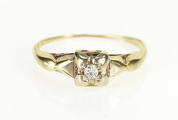 14K Yellow Gold Diamond Solitaire Retro Promise Engagement Ring