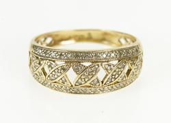 14K Yellow Gold Pave Diamond Criss Cross X Pattern Fashion Ring