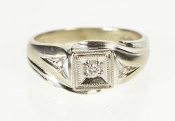 14K White Gold Three Stone Diamond Men's Ornate Wedding Ring