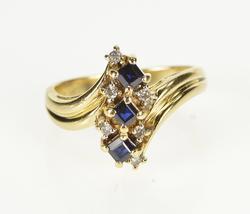 14K Yellow Gold Vertical Princess Sapphire Diamond Cluster Ring
