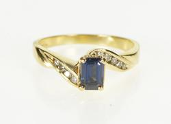 14K Yellow Gold Emerald Sapphire Diamond Bypass Engagement Ring