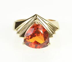 14K Yellow Gold Trillion Sim. Mexican Fire Opal Grooved Design Ring