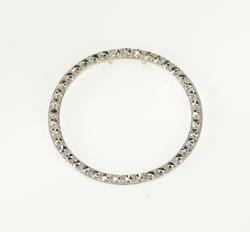 10K White Gold Round Textured Pattern Circle Ring Fashion Pendant