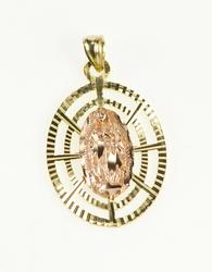 14K Yellow Gold Two Tone Virgin Mother Mary Burst Oval Charm/Pendant