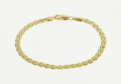 14K Yellow Gold Pressed Ornate Serpentine Chain Link Fashion Bracelet