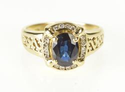 10K Yellow Gold 1.15 Ctw Sapphire Diamond Halo Engagement Ring