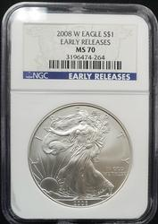2008 W Certified Silver Eagle NGC MS70