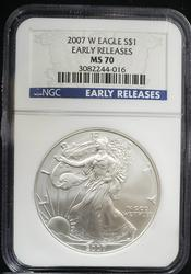 2007 W Certified Silver Eagle NGC MS70