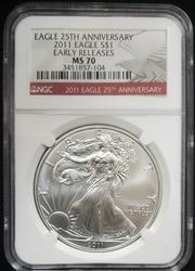2011 Certified Silver Eagle NGC MS70 25th Aniv.