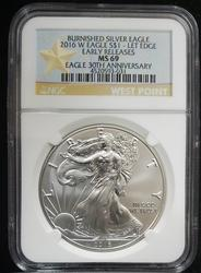 2016 W Certified Silver Eagle NGC MS69 30th Aniv.