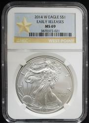 2014 W Certified Silver Eagle NGC MS69