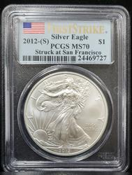 2012 (S) Certified Silver Eagle PCGS MS70