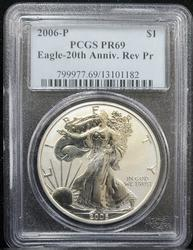 2006 P Certified Reverse Proof Silver Eagle PCGS PF69