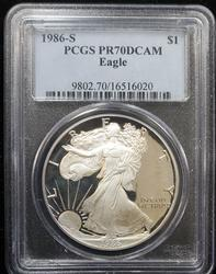 1986 S Certified Proof Silver Eagle PCGS PF70