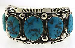 James Victor Begay 5 Turquoise Cuff Bangle