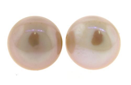 Elegant 9.5mm Pearl Stud Yellow Gold Earrings
