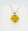 14K White Gold Citrine & Diamond Pendant Necklace