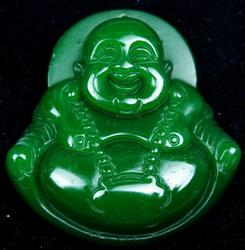 Green Jade Carved Laughing Buddha Pendant