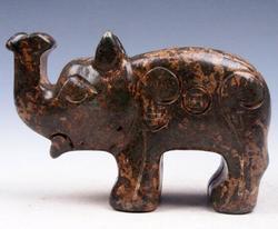 Jade Stone Nephrite Carved Noise up Elephant