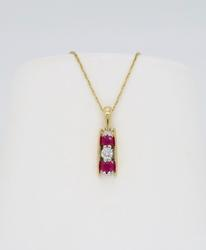 Ruby & Diamond Pendant Necklace in 14k Yellow Gold