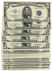 22 Great AU/CU 1953 Series $5 Blue Seal Silver Certs