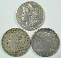 3 Better date US Silver Dollars: 1892-O, 1901, & 1934