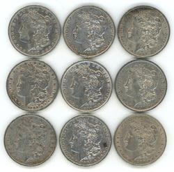 Nice lot of 9 diff Morgan Silver Dollars 1887-O to1900