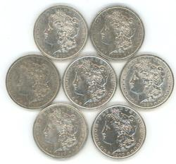 Nice run of 7 diff. Morgan Silver Dollars 1879 to 1899
