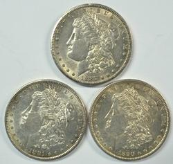Great 1887-S, 90-S, & 91-S Morgan Silver Dollars Flashy