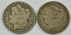 Key 1878-CC & 1882-CC Morgan Silver Dollars. Scarce