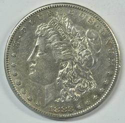 Scarce high grade 1883-S Morgan Silver Dollar. Nice AU