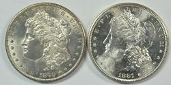 Choice BU 1879-S & 1881-S Morgan Silver Dollars