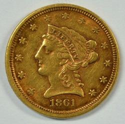 High end 1861 US $2.50 Liberty Gold Piece. Full strike