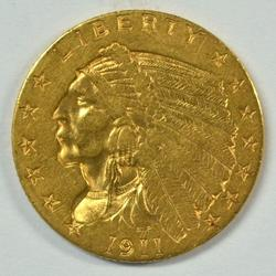 Lovely 1911 US $2.50 Indian Gold Piece. Nice