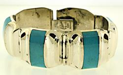 Sterling Silver Ledesma Turquoise Inlay Bracelet